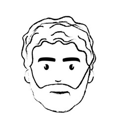Figure nice face man with beard and hairstyle vector