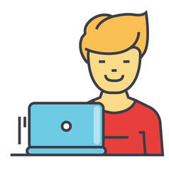 freelancer work at laptop programmer web vector image
