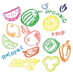 Fruit Vegetables Hand-drawn vector image vector image