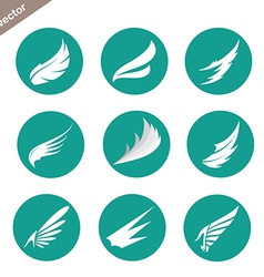 Group of wings in the circle vector