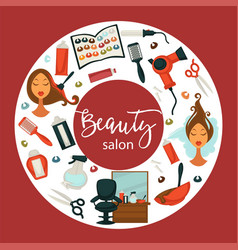 Hair beauty salon hairdresser parlor poster vector