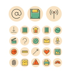 Icons thin red interface ui vector