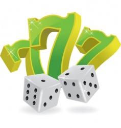 lucky seven dice vector image vector image