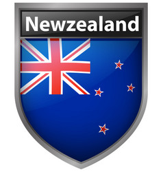 New zealand flag on button design vector