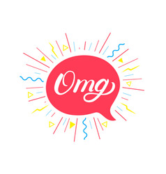Omg hand written lettering background vector