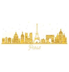 paris city skyline golden silhouette vector image vector image