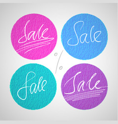 Round sale labels with hand drawn lettering vector
