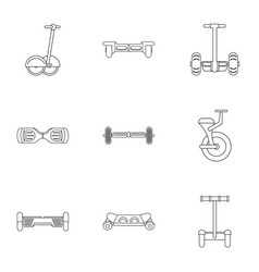 Self balancing scooter icon set outline style vector
