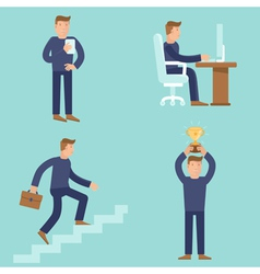 Set of business and career concepts in flat style vector