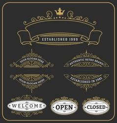 Set of vintage frame and labels design vector