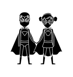Silhouette black front view superhero guy and girl vector