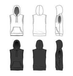 Sleeveless hoody in white and black colors vector