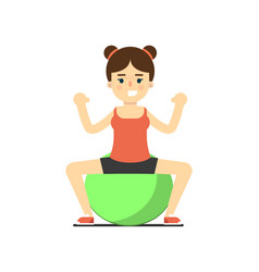 sporty girl in sportswear with exercise ball vector image