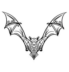 stylized image doodle bat bat tribal tattoo vector image