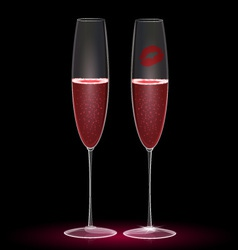 two glasses and one kiss vector image