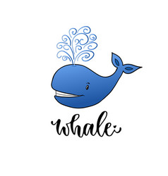 whale cartoon kids print for t-shirt design vector image