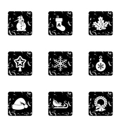 Winter holiday icons set grunge style vector