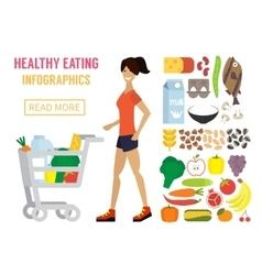 Woman in supermarket Flat design vector image vector image