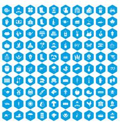 100 farm icons set blue vector
