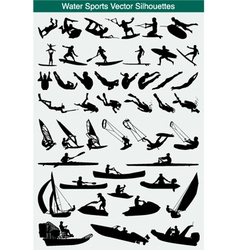 Water sports silhouettes vector