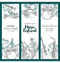 Jazz music festival banners musical instruments vector image