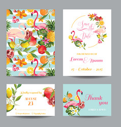 wedding cards in floral background vector image
