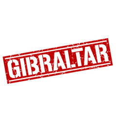 Gibraltar red square stamp vector