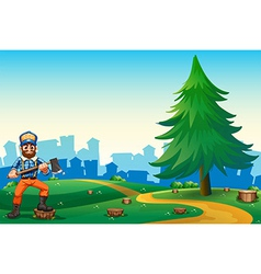 A hilltop with a hardworking woodman holding an vector