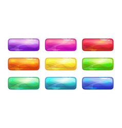 Cartoon colorful glossy long buttons set vector