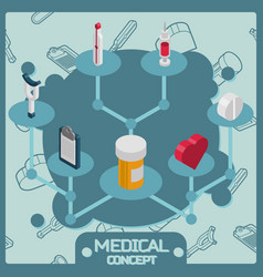 medical color isometric concept icons vector image