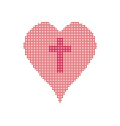 Cross in heart vector
