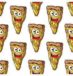 Seamless pattern of mushroom pizza slices vector image
