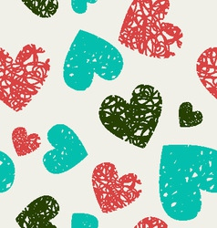 Hearts pattern hand-drawn doodle vector