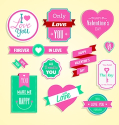 Happy valentines day cards element set vector