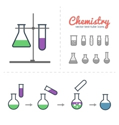 Chemical test tubes icons vector