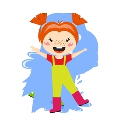 Adorable girl puddle at rainy day springtime jump vector