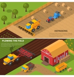Agricultural Machines Isometric Banner Set vector image