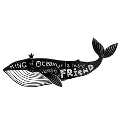 Black ink whale with lettering king of vector