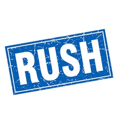 Rush blue square grunge stamp on white vector