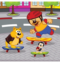 Animals on skateboards vector