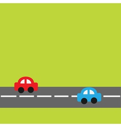 Background with horizontal road and cartoon cars vector image