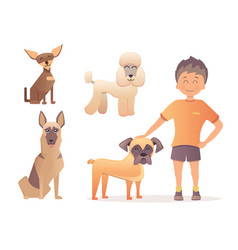 boy with his dog in flat vector image vector image