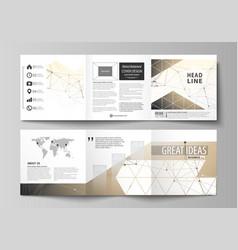 Business templates for tri fold square design vector