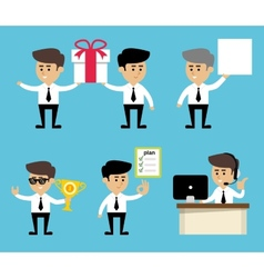 Businessman poses set vector image vector image