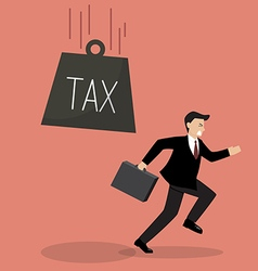 Businessman run away from heavy tax vector image vector image
