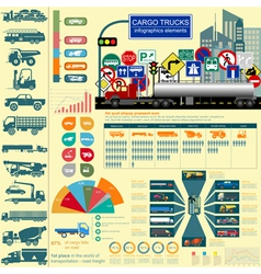 Cargo transportation infographics trucks lorry vector
