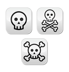Cartoon skull with bones buttons set vector image