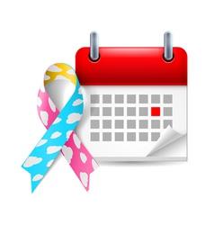 Cloud awareness ribbon and calendar vector