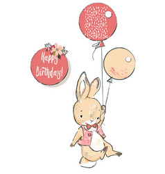 Cute hare with balloons vector