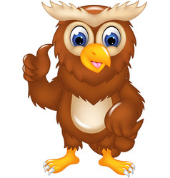 cute owl cartoon posing with smile and thumb up vector image